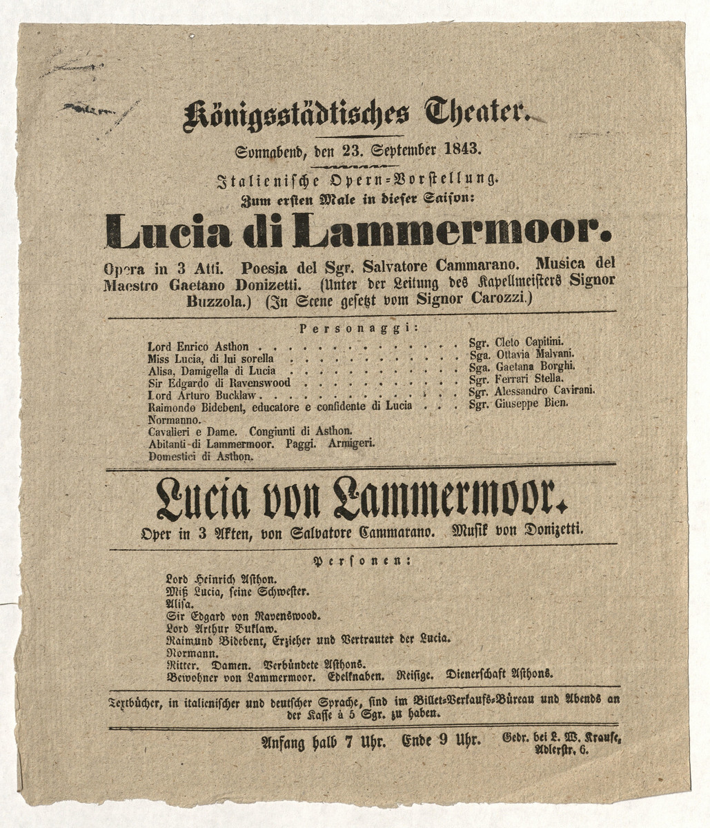 Lucia di Lammermoor opera playbill