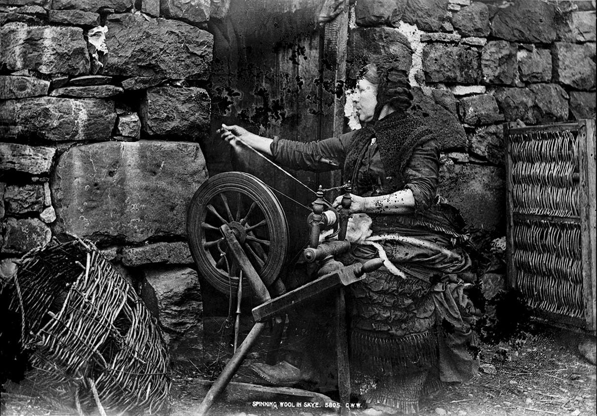 Spinning wool in Skye GB 0231 MS 3792 F02063.jpg