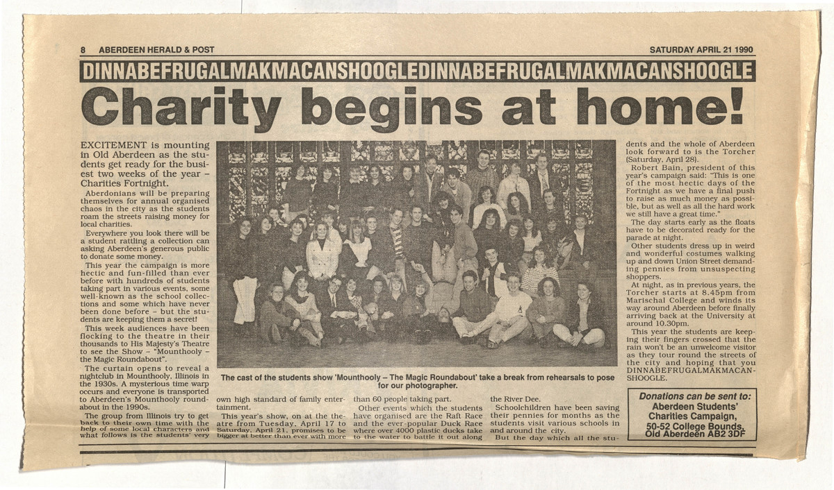 'Charity begins at home' news clipping