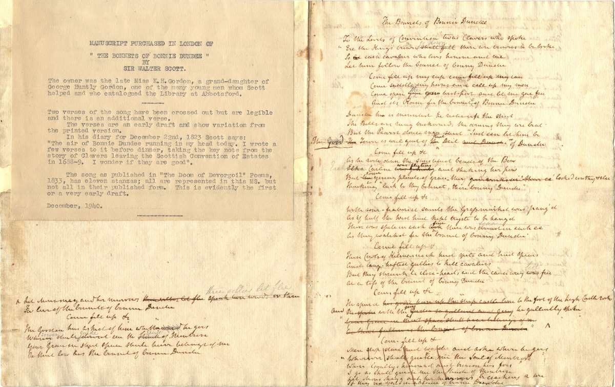 Manuscript purchased in London of 'The Bonnets of Bonnie Dundee'