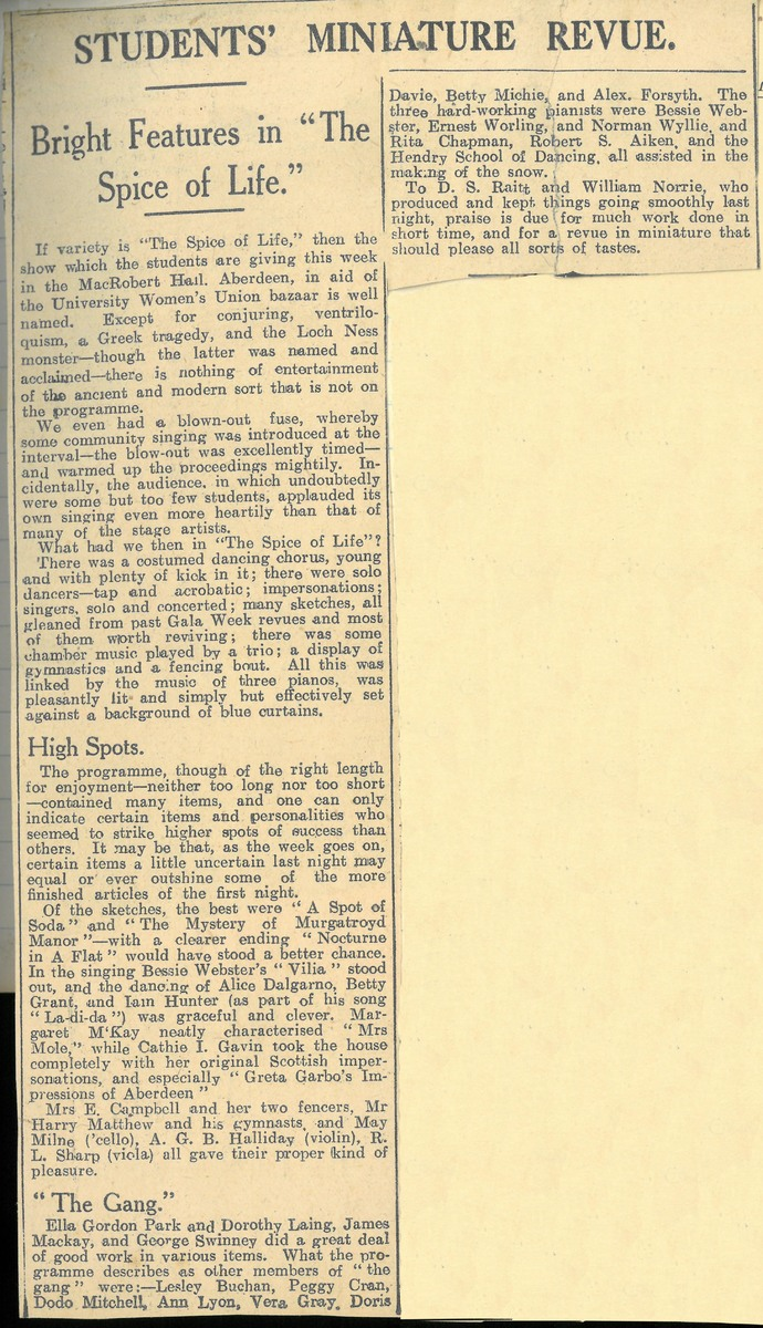 Newspaper cutting of review of The Spice of Life